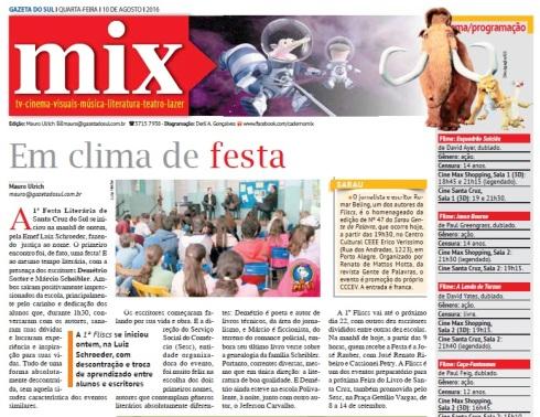 capa do caderno mix, da gazeta, edição 10 de agosto.